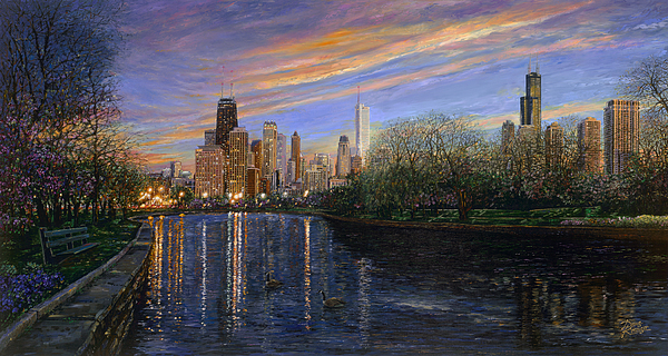 Chicago Evening Skyline Painting - Twilight Serenity by Doug Kreuger