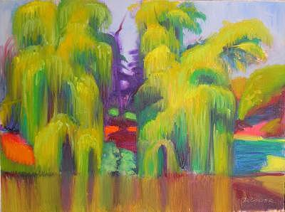 Landscape Painting - Twin Willows Chicago Botanical Gardens by David Dozier
