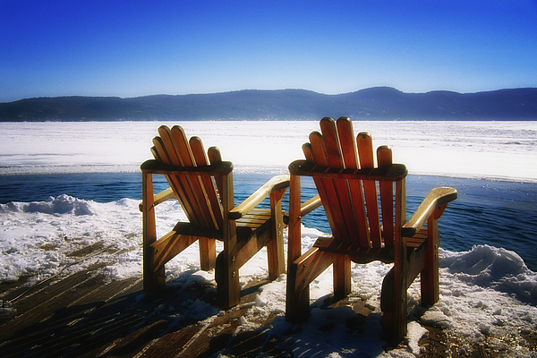 Landscape Photograph - Two Adirondack Chairs  by George Oze