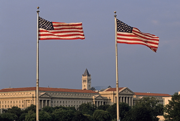 United States Of America Photograph - Two American Flags With Old Post Office Building by Sami Sarkis