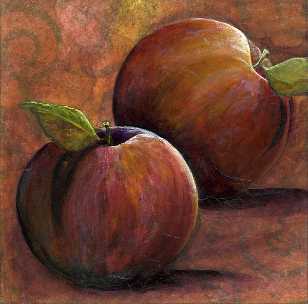 Apples Painting - Two Apples by Sandy Clift