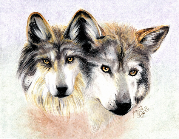 Wolves Drawing - Two Become One by Scarlett Royal