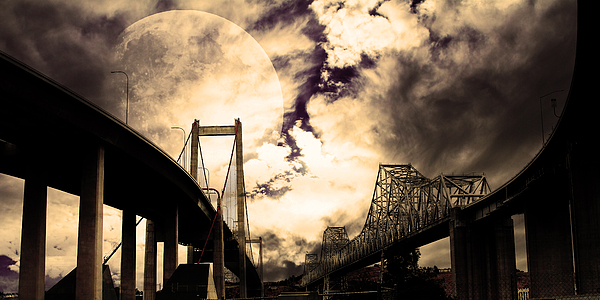 Transportation Photograph - Two Bridges One Moon by Wingsdomain Art and Photography