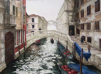 Two Bridges Venice Painting by Steven Bower