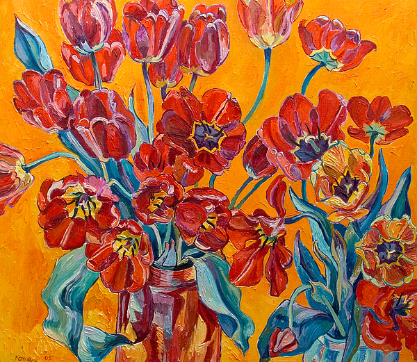 Still Life Painting - Two Bunches Of Red Tulips by Vitali Komarov