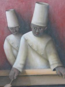 Two Chefs Painting by Alfredo DeCurtis