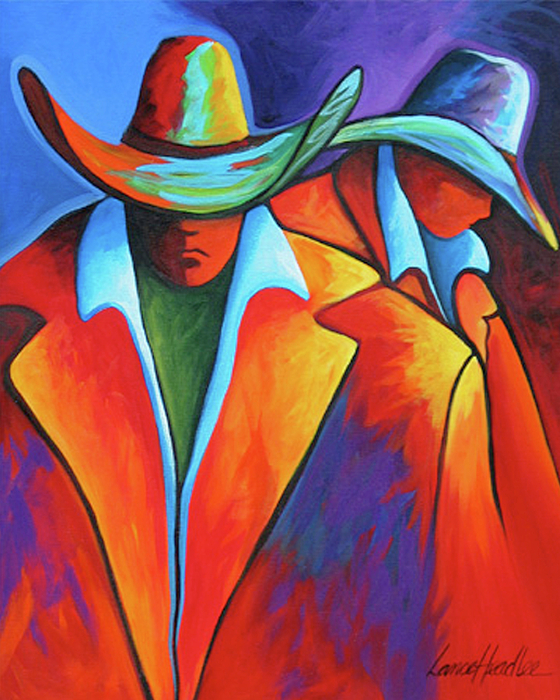 Nature Painting - Two Cowboys by Lance Headlee