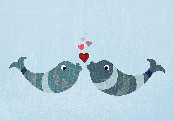 Horizontal Digital Art - Two Fish Kissing by Jutta Kuss