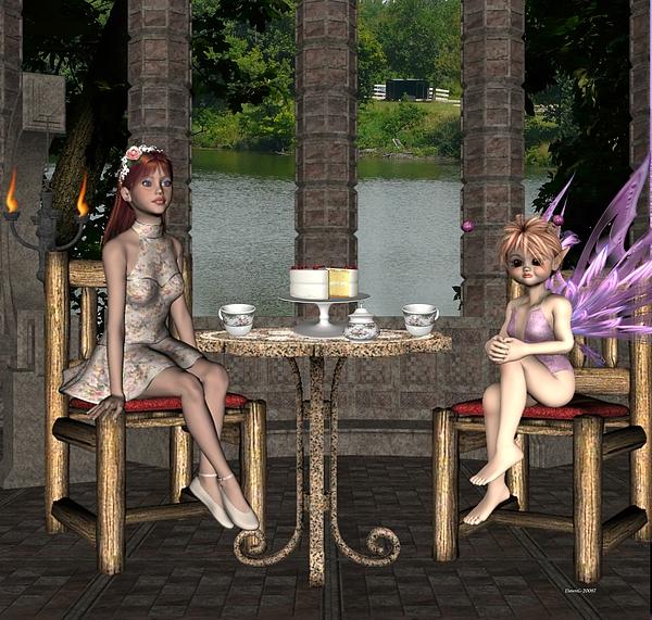 Girl Digital Art - Two For Tea by Morning Dew