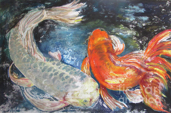 Fish Painting - Two Koi by Susan Herbst