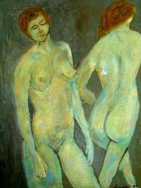 Nude Painting - Two Nudes - A Mirror by Mauro Longordo