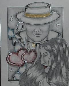 Two Of Hearts Drawing by Mary  Cipriani