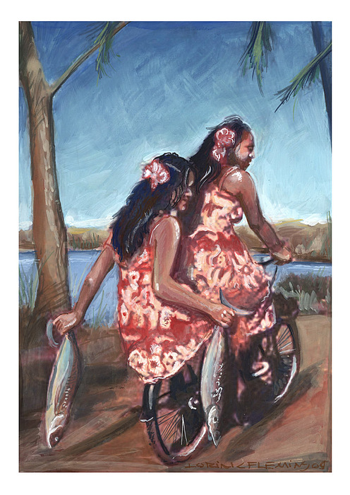 Two On A Bike Painting by Lorin Fleming