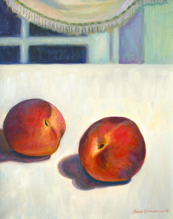 Fruit Painting - Two Peaches At Night by Jane  Simonson
