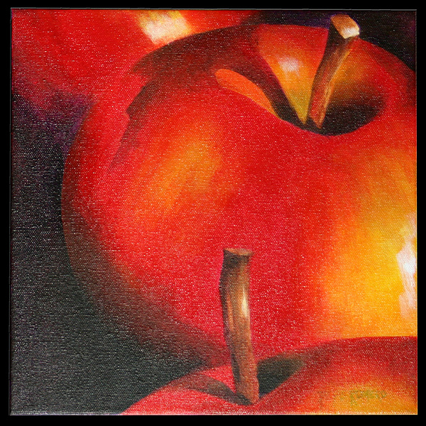 Still Life Painting - Two Red Apple by Pepe Romero