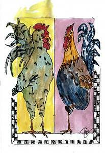 Two Roosters Print by John Durham