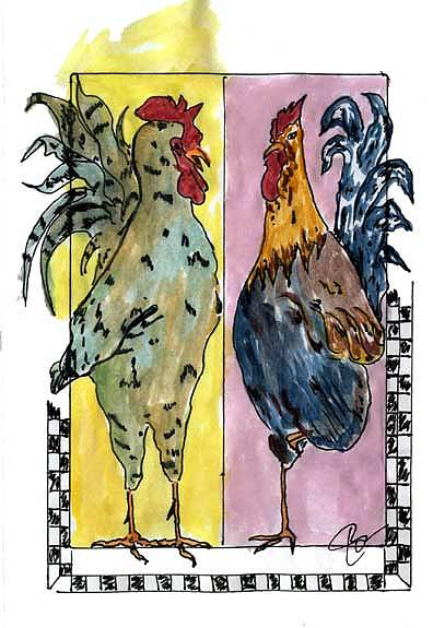 Two Roosters Painting by Jon Noah