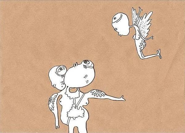 Two Strange Beings Drawing by Marianela Johana Ferreyra