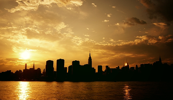 New York City Photograph - Two Suns - The New York City Skyline In Silhouette At Sunset by Vivienne Gucwa