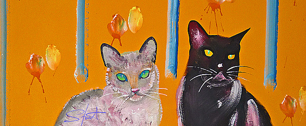 Cat Painting - Two Superior Cats With Wild Wallpaper by Charles Stuart