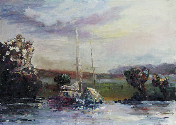 Boat Painting - Two Tired Adventurers by Barbara Pommerenke
