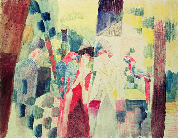 Two Painting - Two Women And A Man With Parrots by August Macke
