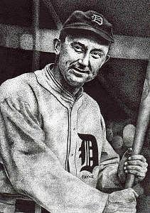 Portrait Of Ty Cobb Drawing - Ty Cobb by Rob Payne