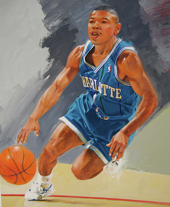 Acrylic Painting - Tyrone Bogues-muggsy by Cliff Spohn