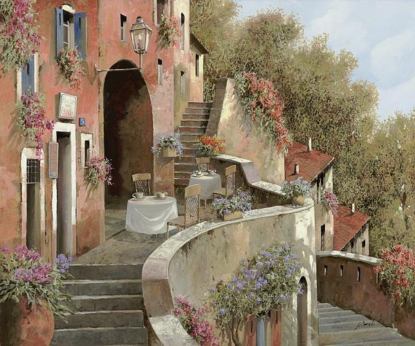 Landscape Painting - Un Caffe Al Fresco Sulla Salita by Guido Borelli