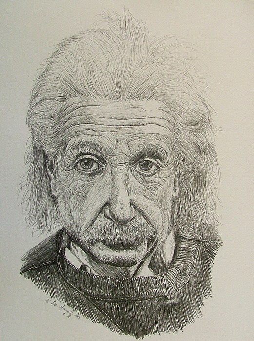 Einstein Drawing - Uncle Albert by Dan Hausel