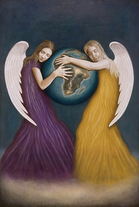 Angels Painting - Unconditional Love by Nanne Nyander