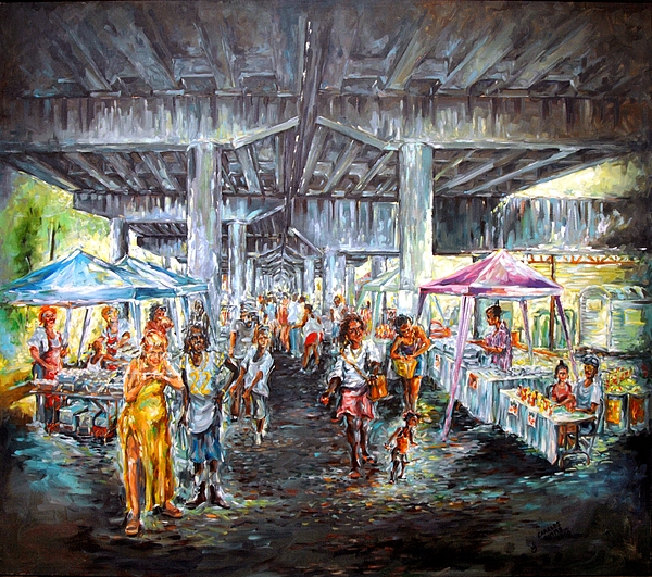 New Orleans Painting - Under The Bridge by Charles Simms