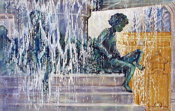Fountain Painting - Under-the-parisian-sun by Nancy Newman