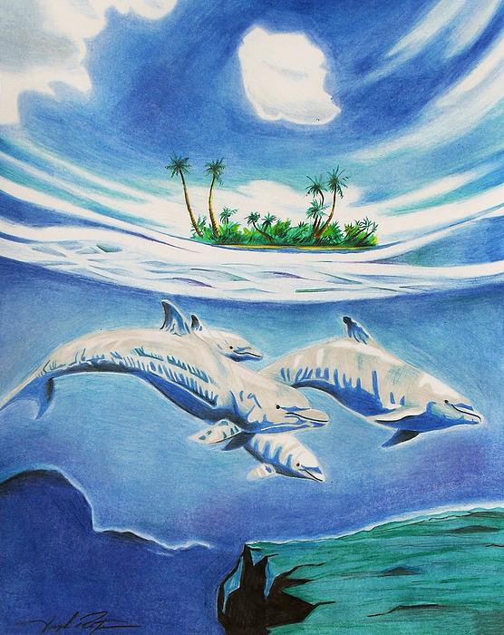 Landscape Drawing - Under Water Wonderland  by Joseph Palotas