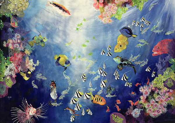 Swimming Painting - Underwater World II by Odile Kidd