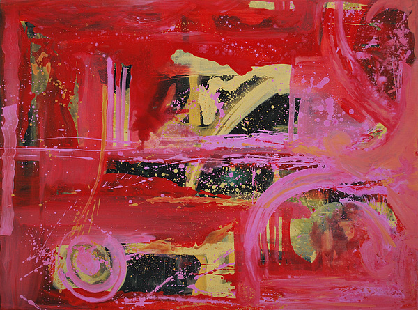 Abstract Red Painting - Unexpected Movr 2 by Vonitya Anand