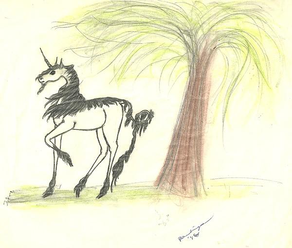 Unicorn Drawing - Unicorn And Willow 2 by Theresa Rawlings