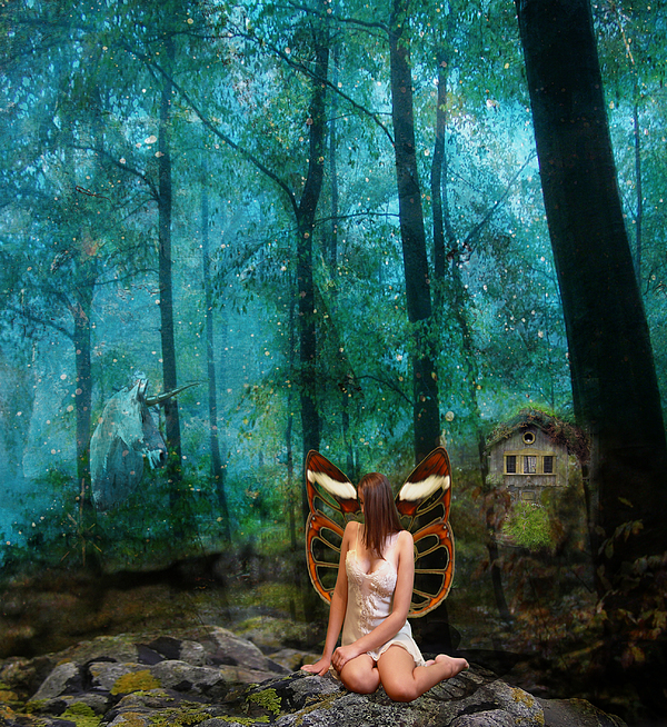 Fairy Digital Art - Unicorn In The Forest by Patricia Ridlon