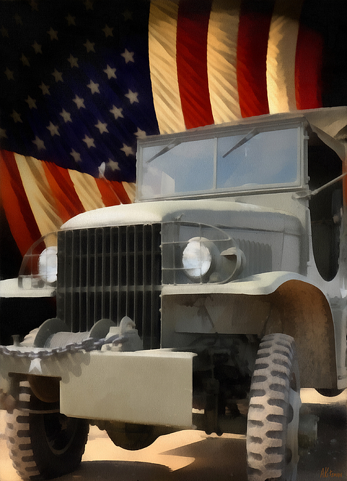 Usa Painting - United States Army Truck And American Flag  by Anne Kitzman