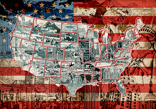 United States Drawing Collage Map Painting By Bekim Art - Us map collage