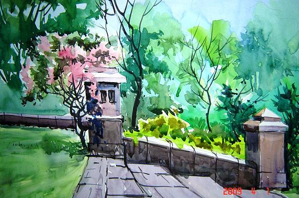 University Steps Painting by Prafulla B Shukla