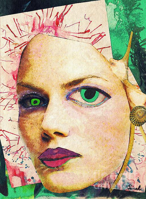 Portrait Mixed Media - Unsettling Gaze by Sarah Loft