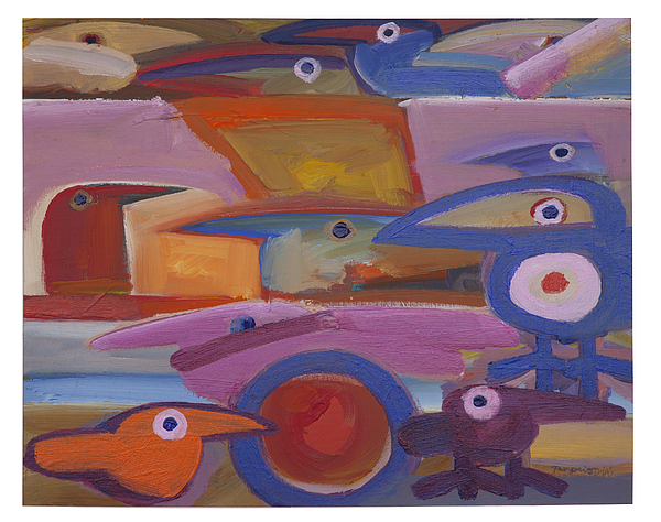 Birds Painting - Untitled - 28-98 by Rogerio Dias