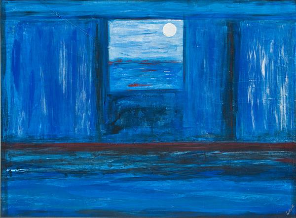 Sedona Az Painting - Untitled In Blue by Celesty  Claudio