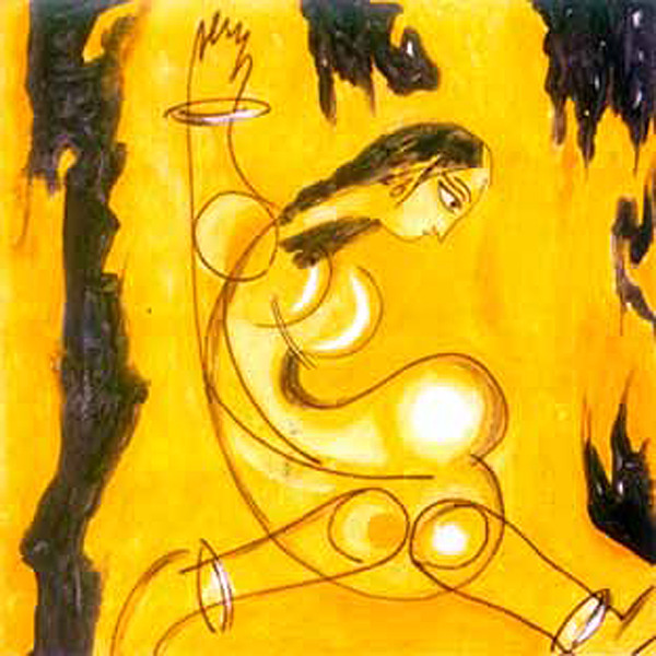 Woman Painting - Untitled by Narayanan Ramachandran