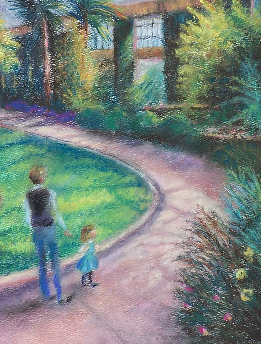 Longwood Gardens Pastel - Up The Path by Laura McMillan