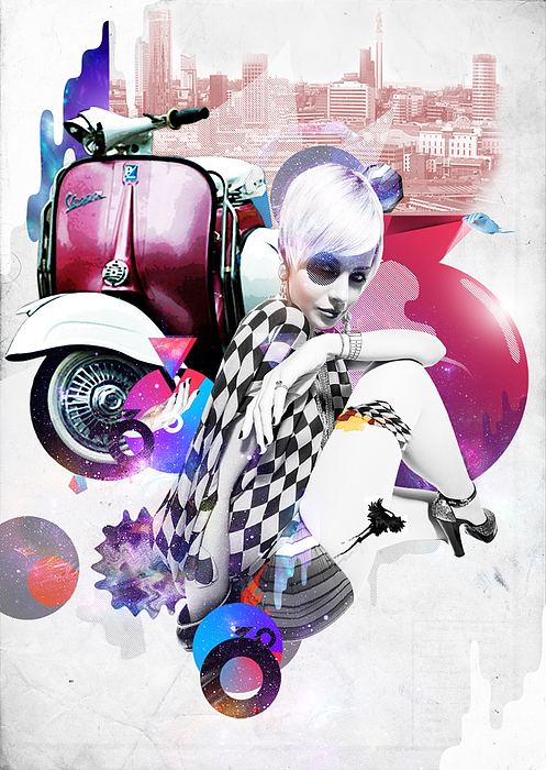 Scooter Digital Art - Up Town Top Scooter Girl by Eugene James