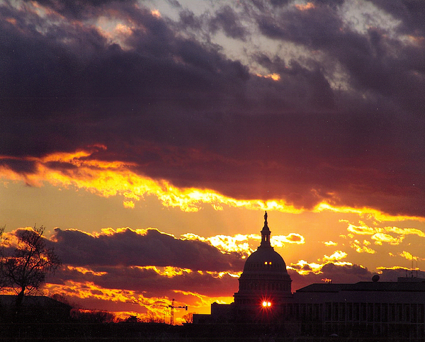 Sunset Photograph - U.s. Capitol Dome At Sunset by Rod Ismay