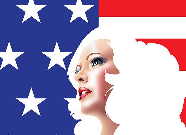 Usa Drawing - Usa Pin Up Girl by Brian Gibbs