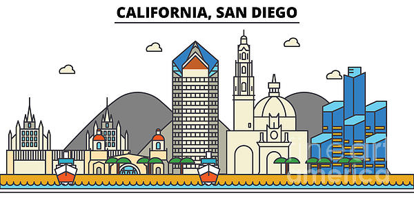 Usa, San Diego, California Skyline.city Illustration With